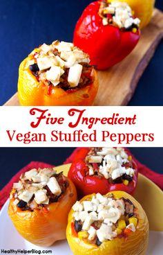 Five Ingredient Vegan Stuffed Peppers- Healthy Helper