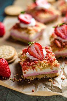 No Bake Strawberry Shortcake Cheesecake Bars
