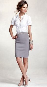 white short-sleeve blouse with ruffles, pale grey pencil skirt, nude skinny belt, nude peep-toe pumps