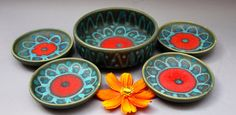Silberdistel  bowl  and 4 coasters Fat Lava 60s Mid Century West German Pottery via Etsy