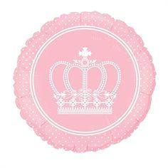 Balão Metalizado Reino Menina Coroa Rosa 9 23 cm
