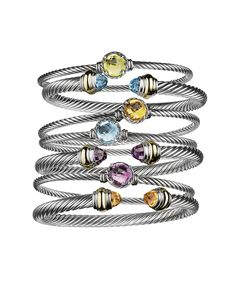 Bracelets from the Cable Classics and Chatelaine® collections. I love my bracelets from David Yurman; have worn them for 30 years; 21 steps to Style Course