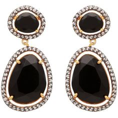 Carousel Jewels - Black Onyx & Crystal Drop Earrings (€180) ❤ liked on Polyvore featuring jewelry, earrings, black onyx jewelry, black onyx drop earrings, crystal jewelry, crystal earrings and crystal jewellery