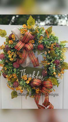Fall Mesh Wreaths, Diy Fall Wreath, Autumn Wreaths, Holiday Wreaths, Door Wreaths, Fall Door Decorations, Harvest Decorations, Fall Decor, Fall Wreath Tutorial