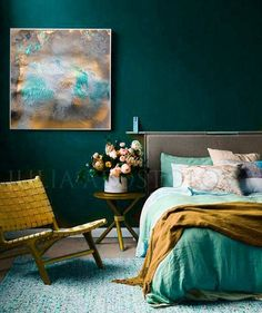 '' Gold and Turquoise Gold Leaf Print Ready to Hang Art Abstract Painting Large Wal. Deco Turquoise, Bedroom Turquoise, Gold Bedroom, Bedroom Green, Bedroom Art, Dark Teal Bedroom, Emerald Bedroom, Bedroom Ideas, Ochre Bedroom