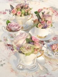 Teacups as containers - shabby chic