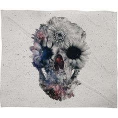 Ali Gulec Floral Skull 2 Fleece Throw Blanket | DENY Designs Home Accessories