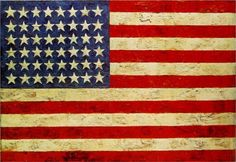 """""""I feel that works of art are an opportunity for people to construct meaning, so I don't usually tell what they mean. It conveys to people that they have to participate.""""    Flag, 1954-55 by Jasper Johns"""