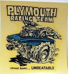 "Ed ""Big Daddy"" Roth Plymouth Hemi Racing Team 1966 Vintage… Car Drawings, Cartoon Drawings, Hot Rod Movie, Ed Roth Art, Monster Car, Dodge Challenger Srt Hellcat, Garage Art, Vintage Iron, Big Daddy"