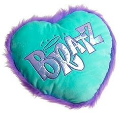 Bratz Plush Pillow by Toys. $19.99. Heart Shaped Pillow. Show your funky flair. The Bratz Plush Pillow is a furry heart-shaped pillow in teal with an outta' sight faux-fur lavender trim. Glittery appliqué fabric reads BRATZ, with a halo and stars shining above. Add this throw pillow to the Bratz Twin Comforter and Sheet Set for a final touch to a groovy Bratz bed (each sold separately). Polyester. Spot clean. Imported. 14Lx14-1/2W.