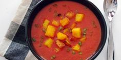 Roasted Red Pepper & Tomato Soup with Polenta Croutons
