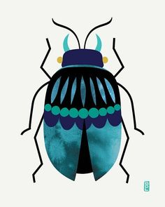 Stag Beetle Fine Art Print : Navy Blue Olive Green Colorful and bold stag beetle. Stag Beetle Fine Art Print : Navy Blue Olive Green Colorful and bold stag beetle illustration with Stoff Design, Art Watercolor, Bug Art, Insect Art, Guache, Reptiles, Digital Illustration, Fine Art Prints, June Bug