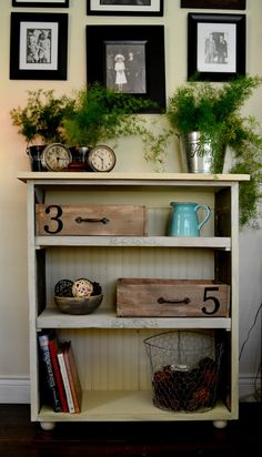 Rustic Bookcase/ 3 shelves/Reclaimed Wood Bookcase/Dark blue and Cottage white Bookcase/Distressed Finished