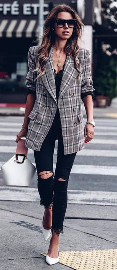 what to wear with a plaid blazer : bag + black top + ripped jeans + heels