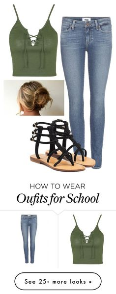 """""""High school"""" by dreamlessends on Polyvore featuring Paige Denim, Topshop and Mystique"""