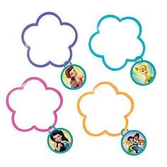 These Tinker Bell Flower Shaped Bracelets feature assorted characters and colors in purple, pink, yellow and turquoise.