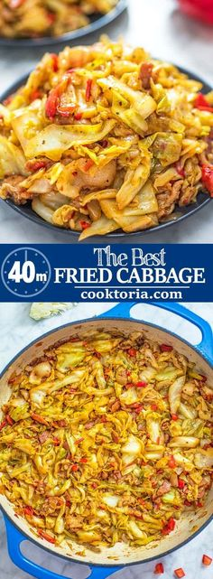 This Fried Cabbage recipe is insanely good! Made with bacon onion bell pepper and a touch of hot sauce it is easy to make simple and comes out perfect every time! This Fried Cabba Fried Cabbage Recipes, Bacon Fried Cabbage, Cooked Cabbage, Vegetable Recipes, Vegetarian Recipes, Cooking Recipes, Healthy Recipes, Ark Recipes, Best Cabbage Recipe