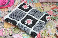 Baby Blanket / Throw for your home decor / granny squares by ooty, $68.00