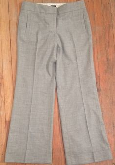 J Crew Wool Blend Gray Wide Leg Cuffed Career Dress Pants Favorite Fit 10 35x32 | eBay #RecycledCouture #Fashion #eBay