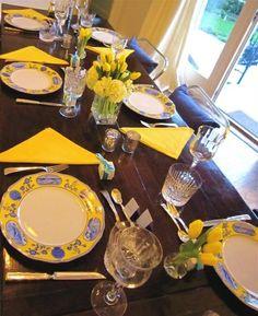 décoration de table printemps avec des fleurs