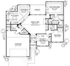 Traditional Style House Plan - 3 Beds 2.5 Baths 1561 Sq/Ft Plan #80-109 Floor Plan - Main Floor Plan - Houseplans.com