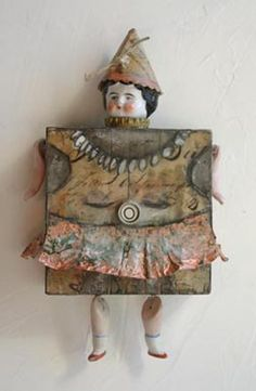 mixed media, found element art dolls