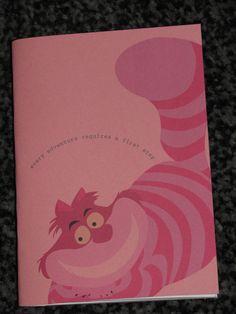 chesire cat, alice in wonderland sketchbook. £1.50, via Etsy.