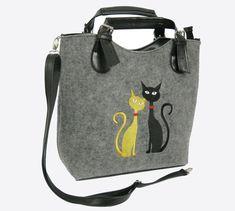 BAG FOR GIFT, Women felt bag, Felt totebag, Cat bag, Felt shopperbag, Felt handbag, Felt shoulder bag, Cat design bag by BPStudioDesign on Etsy