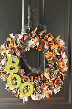 "Halloween ""Boo"" Rag Fabric Wreath... Wish I had fabric scraps to use up!"
