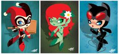 Harley Quinn, Poison Ivy and Catwoman chibi fan art