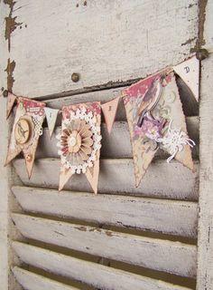 Handmade Spring Banner  Vintage Bird Art Vintage Bird by QueenBe, $22.50