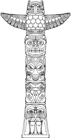 Totem (game puzzle) on Behance Native American Tattoos, Native Tattoos, Native American Symbols, Cherokee Indian Tattoos, American Indians, Totem Pole Drawing, Totem Pole Tattoo, Totem Tiki, Totem Pole Art