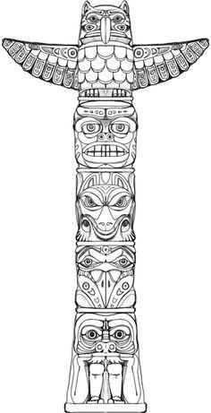 indian totem pole coloring pages | Pin tillagd av Sarah Stubbs på North America | Totem pole ...