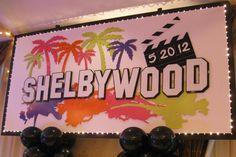 Hollywood Themed Bat Mitzvah Backdrop - Custom Party Backdrops & Murals