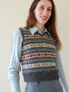 Ravelry: Project Gallery for Lady's Sleeveless Fair Isle Pullover pattern by Susan Crawford