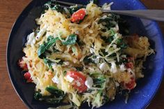 Garlicky Spaghetti Squash with Spinach, Tomatoes and Feta