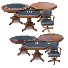 #Poker Table With Chairs. This 3-in-1 poker table with #chairs set includes table, poker table topper, #bumperpool and 4 matching chairs in your choice of #oak or #walnut finish.