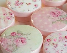 Pink Shabby Rose Knobs, Cottage Style Rose Knobs, Shabby Drawer Knobs- Wood Knobs- 1 1/2 Inches - Set of 8