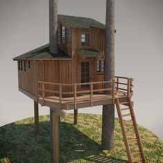 DIY Treehouse Plans No. Nooksack designed by Pete Nelson – Be in a Tree Kids Playhouse Plans, Build A Playhouse, Garden Playhouse, Ship Ladder, Building A Treehouse, Treehouse Ideas, Tree House Plans, Cool Tree Houses, Small Houses
