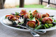 Bacon wrapped baby potato salad Baby Potato Salad, Humble Potato, Bacon Wrapped, Unique Recipes, Caprese Salad, Family Meals, Easy Meals, Challenge, Potatoes