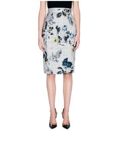 Floral Check Sateen Pencil Skirt by Cue