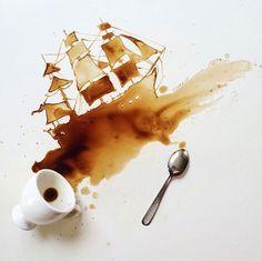 コーヒーでちょっと一息ついている時に、誤ってコーヒーをこぼしてしまったなんて経験をしたことがある方も多いかと思います。普通は綺麗に拭きとってしまいますが、今回はコーヒーの染みになってしまう状況を利用したビジュアルアートシリーズを紹介します。