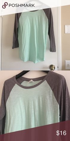 Mint Green Baseball Sleeve Victoria's Secret Tee Gorgeous tee with mint green body and gray sleeves. The mint green is somewhat sheer but a cami or nude bra would work great! PINK Victoria's Secret Tops Tees - Long Sleeve
