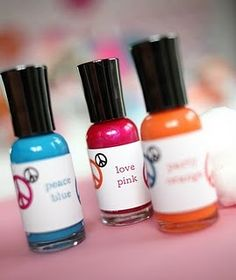 Cute Gift: Create own label to wrap around nail polish as a cute, easy party favor, or girlie gift.-spa bday
