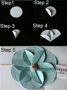Step 1: Use a punch to punch out circle - choose any size depending on how big you would like your flower to be.  Step 2: Fold up one third.  Step 3. Fold up the other side, overlapping the first fold.  Step 4: Repeat with 5 more circles.  Step 5: Adhere them all together to make the flower. Add a brad or other embellishment to the middle.