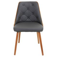 Invite the stylish LumiSource Gianna Chair into your home for a refreshing update to your decor. Its retro design has a plush diamond tufted padded backrest and is complemented by a stylish curved wood frame. Perfect for dining, office, or living area. Leather Dining Room Chairs, Solid Wood Dining Chairs, Upholstered Dining Chairs, Dining Chair Set, Chair Upholstery, Leather Chairs, Kitchen Chairs, Chair Cushions, Diy Vintage