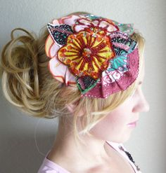 Unique Colorful Sequence Flower Fascinator Headband.....beautiful, but possible too garish a hair accessory, even for me!