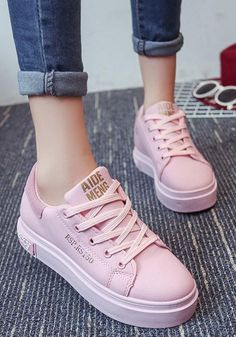 best cheap 510d0 873f1 Pink Round Toe Flat Letter Print Casual Shoes