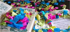 Alice in Wonderland party invitation: Old cheap Alice in Wonderland story books filled with colorful confetti! Love this idea!