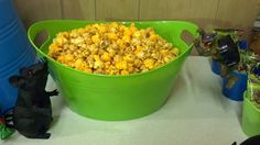 Popcorn in green bucket Teenage Mutant Ninja Turtle Party Ideas